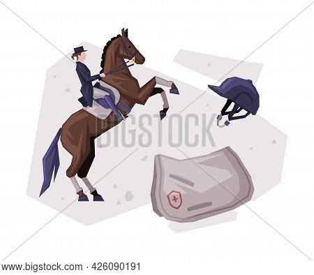 Jockey Riding Horse, Equestrian Sport Equipment Vector Illustration