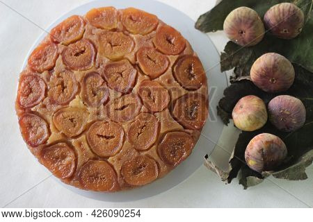 Fig Upside Down Cake With Lots Of Fresh Figs And Flavored With Fresh Orange Juice.