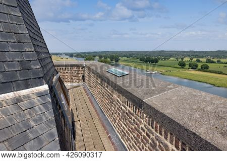 Aerial View Dutch Village Cuijk With Riverbank Along River Meuse Seen From Tower Martinus Church
