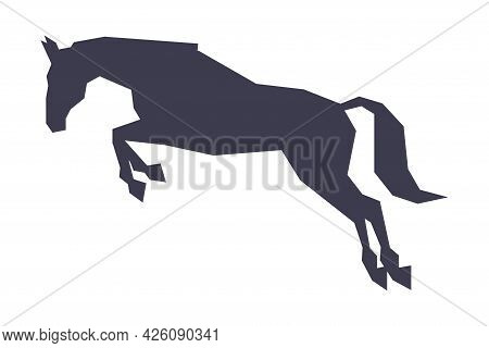 Silhouette Of Jumping Racing Horse, Derby, Equestrian Sport Vector Illustration