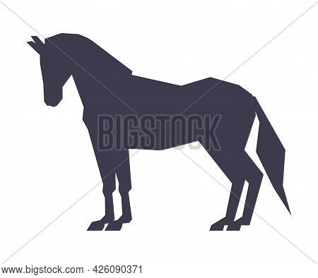 Side View Of Horse Silhouette, Derby, Equestrian Sport Vector Illustration