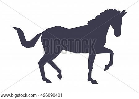 Side View Of Racing Horse Silhouette, Racing, Derby, Equestrian Sport Vector Illustration