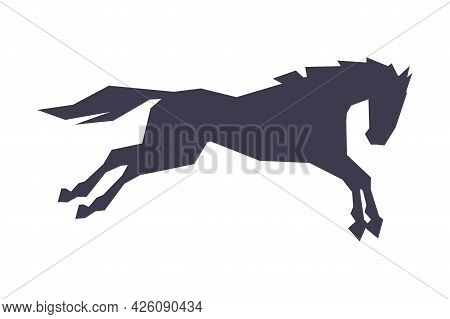 Silhouette Of Racing Horse In Motion, Derby, Equestrian Sport Vector Illustration