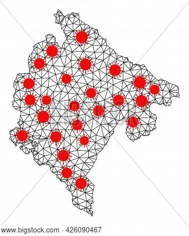 Wire Frame Polygonal Map Of Montenegro Under Lockdown. Vector Model Is Created From Map Of Montenegr