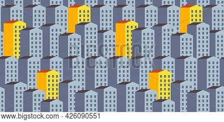 City Vector Seamless Pattern With Gray And Yellow Orange Houses. Property Background. Modern Buildin