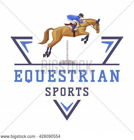 Equestrian Sports Logo Design, Jockey Riding With Jumping Horse, Derby, Tournament Label, Emblem Vec