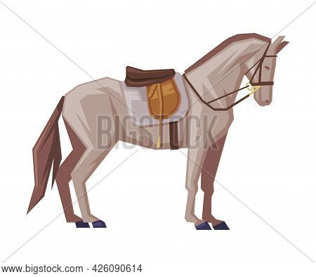 Side View Of Thoroughbred Racing Horse With Saddle, Derby, Equestrian Sport Vector Illustration
