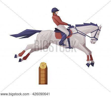 Jockey Jumping On Racing Horse, Derby, Equestrian Sport Vector Illustration