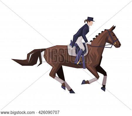 Jockey Riding On Racing Horse, Man Rider Competing In Dressage Vector Illustration