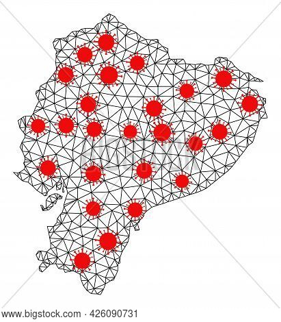 Carcass Polygonal Map Of Ecuador Under Outbreak. Vector Model Is Created From Map Of Ecuador With Re