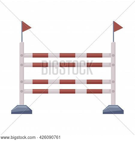 Fence Barrier Equestrian Sports Equipment Vector Illustration On White Background.