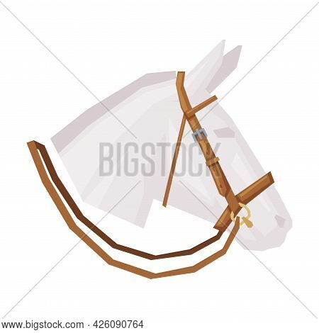 Side View Of Horse Head With Leather Bridle, Equestrian Sports Ammunition Vector Illustration