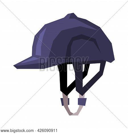 Black Jockey Helmet Equestrian Sports Ammunition Vector Illustration