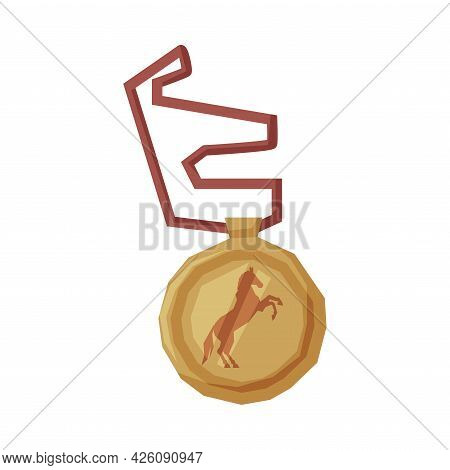 Gold Medal Equestrian Sports Equipment Vector Illustration On White Background
