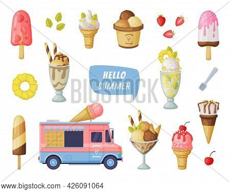 Hello Summer, Ice Creams Set, Fresh Cold Sweet Tasty Desserts Of Different Flavors Collection Cartoo