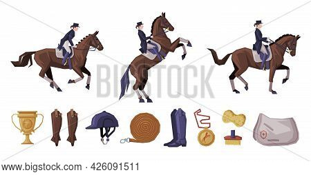 People Riding Horses Set, Equestrian Sport Equipment, Horse Riding Essentials And Grooming Tools Vec