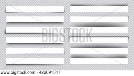 Set Of White Blank Paper Scraps With Shadows. Page Dividers On Checkered Background. Realistic Trans