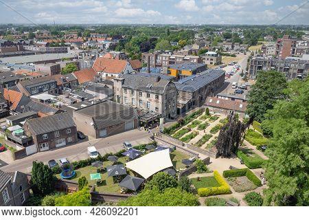 Cuijk, The Netherlands - June 18, 2021: Aerial View Village Centre Dutch City Cuijk Along River Meus