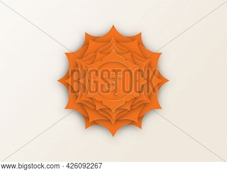 Second Swadhisthana Chakra With The Hindu Sanskrit Seed Mantra Vam. Orange And Gold Paper Cut Design