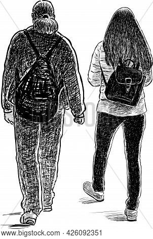 Freehand Drawing Of Couple Young Modern Citizens Walking For A Stroll