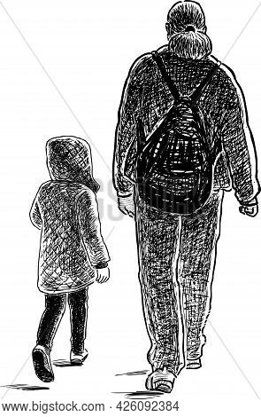 Freehand Drawing Of Parent With His Little Daughter Walking For A Stroll