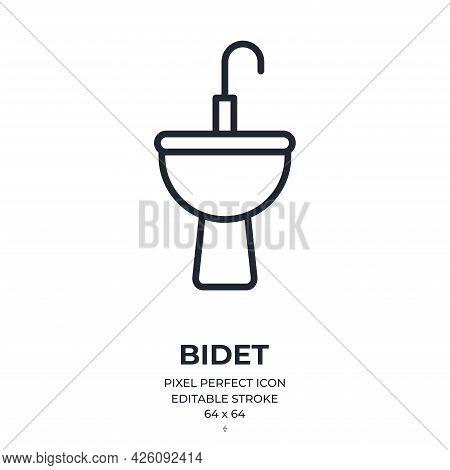 Bidet Editable Stroke Outline Icon Isolated On White Background Flat Vector Illustration. Pixel Perf