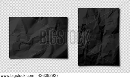 Realistic Blank Crumpled Paper Sheets In A4 Size With Shadow On Checkered Background. Black Notebook
