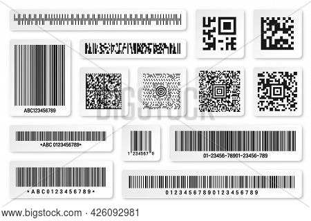 Set Of Product Barcodes And Qr Codes. Identification Tracking Code. Serial Number, Product Id With D