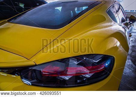 Bangkok, Thailand - 26 Jun 2021 : Close-up Of Rear Light Or Tail Lamp Of Yellow Ferrari Sports Car P