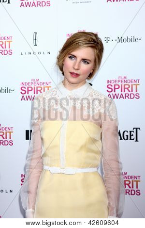 LOS ANGELES - FEB 23:  Brit Marling attends the 2013 Film Independent Spirit Awards at the Tent on the Beach on February 23, 2013 in Santa Monica, CA