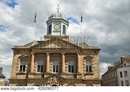 A View Of The Façade Of The Town Hall In The Scottish Borders Town Of Kelso.