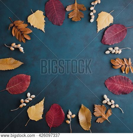 Autumn Floral Greeting Card Made Of Dried Leaves