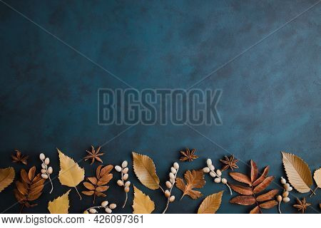Autumn Background, Border Of Dried Leaves On Dark