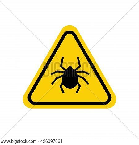 Tick Warning Sign. Yellow Triangle With Black Mite Silhouette In Line Frame. Vector Isolated On Whit