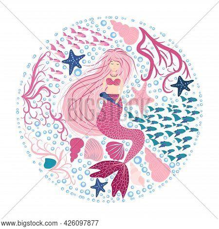 Cartoon Beautiful Mermaid With Developing Hair In A Circle Of Seashells, Algae, Bubbles. Siren. Mari