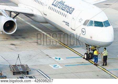 Vienna, Austria - September 18, 2015: Lufthansa Modern Passanger Jet Parked At Runway In Airport. Ai