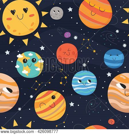 Cute Seamless Pattern For Children. Space Concept. Solar System Planets With Stars And Comets On Dar