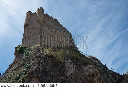View From Below Of The Castle Tower At Frias On A Summer Day.burgos, Merindades, Spain, Europe