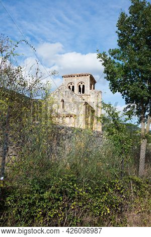Old Church Tower And The Nature Around In A Spanish Rural Area. Burgos, Merindades, Spain, Europe