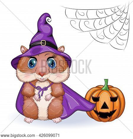 Cartoon Hamster Wearing Purple Witch Hat With Broom, Potion Or Pumpkin Jack. Halloween