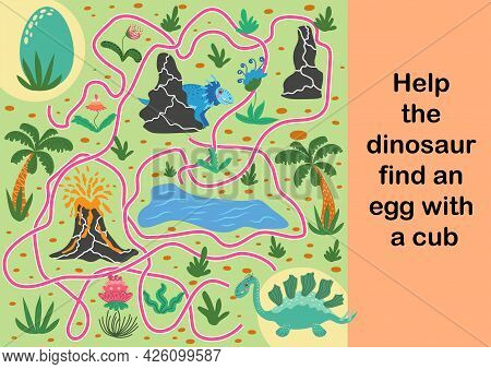 Help Dinosaur Find Path To Nest. Labyrinth. Maze Game For Kids. Help Dino Moms To Find Their Eggs Ki