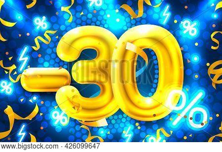 30 Percent Off. Discount Creative Composition. 3d Mega Sale Symbol With Decorative Objects. Sale Ban