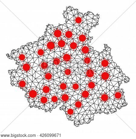 Wire Frame Polygonal Map Of Altai Republic Under Lockdown. Vector Model Is Created From Map Of Altai