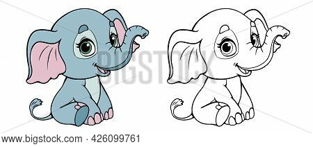 Baby Elephant Cute Cartoon Set For Coloring Book. Black And White Elephant And Color. Vector Illustr