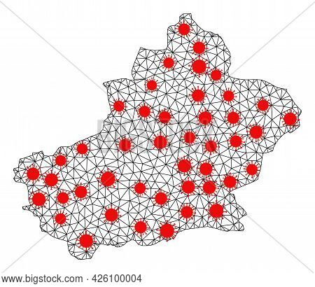 Network Polygonal Map Of Xinjiang Uyghur Region Under Infection. Vector Structure Is Created From Ma