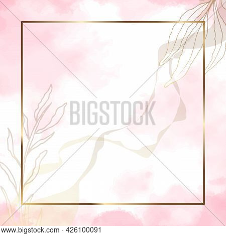 Gold Frame Square. Luxury Square Banner With Watercolor Stains And Golden Branches. Abstract Pink Ba