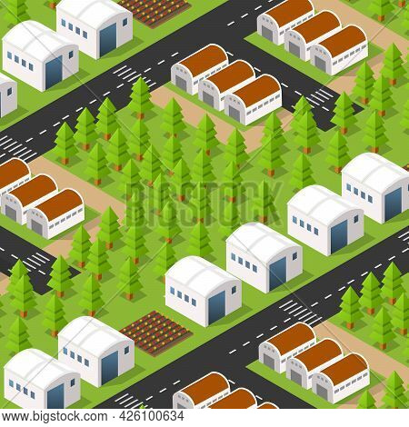 Rural Isometric Ranch Farm With Trees Fields And Garden