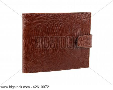 New Brown Wallet Of Genuine Reptile Skin Leather. Without Shadows. Isolated On White  Background. Cl