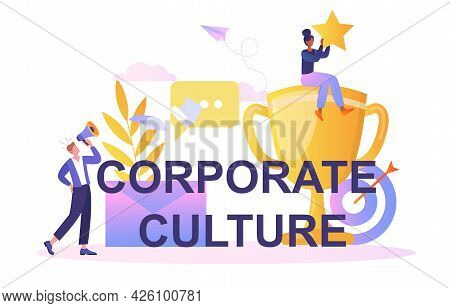 Corporate Culture Concept. A Woman Sits On A Cup And Holds A Star. The Man Speaks Into A Megaphone.
