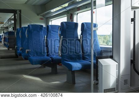 Blue Comfortable Seats In The Train Carriage. Close-up.